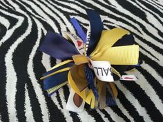 "Cheer-riffic Pom Pom ""I Love Football"" Yellow and Blue 4"" Hair Bow Clip~Chargers #Handmade"