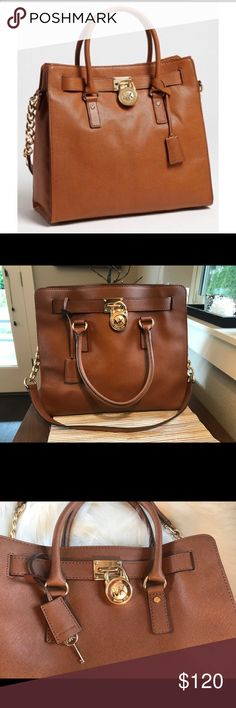 "Michael Kors Large Hamilton tote Camel color Michael Kors Large Hamilton with shoulder strap Come with lock and key EUC Size approximately 14""x 12"" Michael Kors Bags Totes"