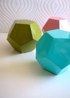 Geometric Figures in aqua by mahzerandvee on Etsy, $39.00 (each)