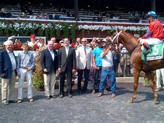 How appropriate...TNT Stud's Vitorio Olympico wins the Alydar Stakes at Saratoga, wearing Alydar's colors.  TNT Stud purchased the famous devil's red and blue of Calumet Farm when the farm was having financial problems in the 1990's.