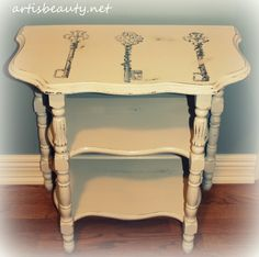 shabby chic freezer paper transfer, furniture furniture revivals, home decor, painting, shabby chic