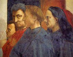 "On the right, Masaccio paints Masolino, himself, Leon Battista Alberti (or possibly Donatello) and Brunelleschi in the crowd in ""Saint Peter Enthroned""."