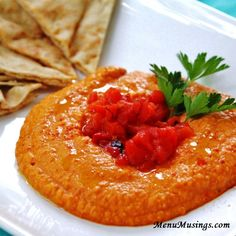Menu Musings of a Modern American Mom: Roasted Red Pepper Hummus - made this Christmas 2014...spicy kick.