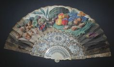Antique 18th Century English Still Life Fan. 26.5 cm. long, 50 cm in extended position.