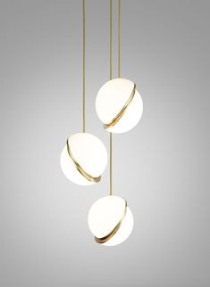 Trio of pendant lights MiniCrescent Design LeeBroom CrescentLight Brass Bedroom Lighting, Interior Lighting, Home Lighting, Modern Lighting, Lighting Design, Bedroom Chandeliers, Office Lighting, Kitchen Lighting, Bathroom Ceiling Light