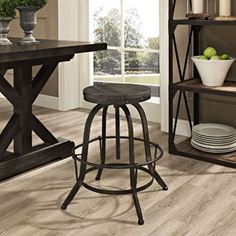 Collect Wood Top Bar Stool 1208-BLK by LexMod