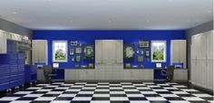 Garage storage - checked floor - Home and Garden Design Ideas - Closet Factory