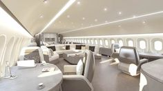 """Jet Aviation Basel's """"Visionary"""" cabin interior for VIP widebody aircraft may provide a glimpse into the future, particularly as manufacturers increasingly introduce lightweight airframes of composite structures. Jets Privés De Luxe, Luxury Jets, Luxury Private Jets, Private Plane, Arquitectura Wallpaper, Private Jet Interior, Aircraft Interiors, Best Luxury Cars, Luxury Living"""