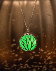 Green Circle Glow Necklace  Glow in the Dark Necklace by EpicGlows