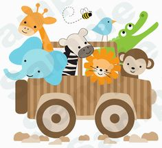 "Jungle Jeep Animals Nursery baby Kids Room Wall Mural decor - measures 30"" Tall and 33"" Wide."