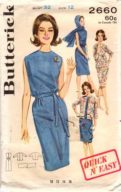 Butterick 2660 Vintage Sewing Pattern Misses Sleeveless Slim Dress, Sheath, Jacket, Top, Scarf Size 12 Bust Size 14 Bust 34 by midvalecottage on Etsy Vintage Outfits, Robes Vintage, Vintage Scarf, Vintage Dresses, Moda Retro, Moda Vintage, Vintage Mode, Vintage Ladies, 1960s Fashion
