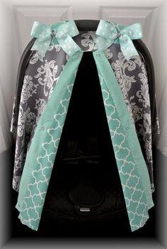 car seat canopy, car seat cover, teal, grey, gray, polka dots, damask, chevron, bows, car seat, infant girl, baby girl, baby boy, infant boy...