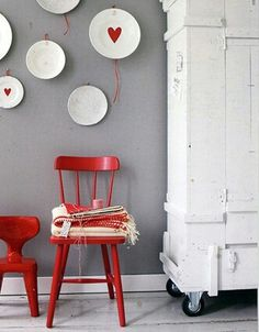Rode stoel- VT Wonen, Red painted chair and stool. Living Room Chairs, Home Living Room, Living Spaces, Red Accent Chair, Accent Chairs, White Hutch, Red Cottage, Bedroom Red, Interior Styling