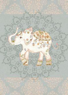 'INDIAN SUMMER ELEPHANT by Moni...' Metal Poster - Monika Strigel® | Displate