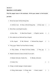 Year 3 Monthly Test 1 KSSR (Unit 1 - Unit 3) English Language Test, English Exam, Year 2 English Worksheets, Days In August, Proper Nouns, Reading Comprehension Skills, Sentences, Teacher, The Unit