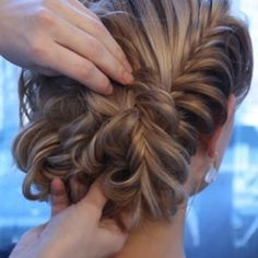 Cool fishtail updo hairstyle