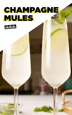 Champagne Mules give mimosas a run for their money. Get the recipe at Delish.com. #recipe #easyrecipe #booze #alcohol #liquor #vodka #cocktail #wine #champagne #drinks #drinking #drinkrecipes #lime #mint #ginger #beer