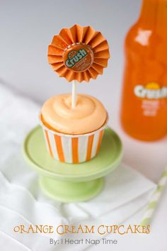 Orange crush cupcakes topped with creamsicle frosting!