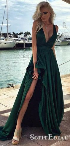 268406454c2c A-line V-neck Silk-like Satin Long Split Front New Arrival Prom Dresses