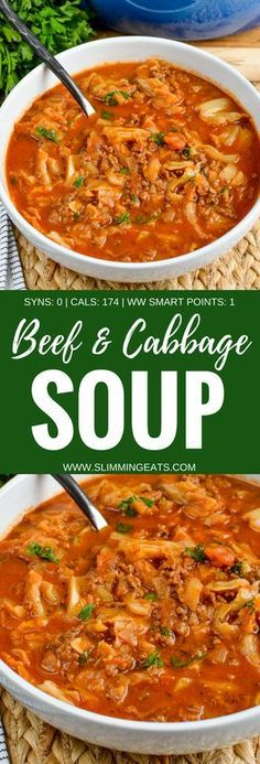 Slimming Eats - Syn Free Beef and Cabbage Soup - gluten free, dairy free, paleo, weight watchers and Slimming World friendly