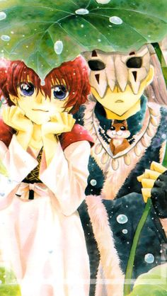 Yona and Shin-ah from Yona of the Dawn. Yona and Shin-ah sittin' under a leaf, k-i-s-s-i-n-g. First comes love, then comes marriage. Then?