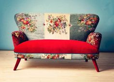 settee-floral-red-funky-love-seat-sofa-couch...have done this with my chair, and a long ago couch...