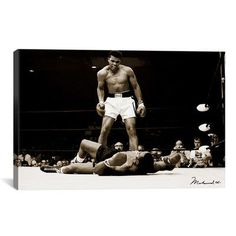 """You'll love the """"Muhammad Ali Vs. Sonny Liston, 1965"""" Photographic Print on Wrapped Canvas at Wayfair - Great Deals on all Décor  products with Free Shipping on most stuff, even the big stuff."""