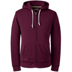 Lands' End Men's Tall Long Sleeve Sweats Full-zip Hoodie - Serious ($60) ❤ liked on Polyvore featuring men's fashion, men's clothing, men's hoodies, hoodies, men, red, mens full zip hoodies, mens hooded sweatshirts, mens red hoodie and mens tall hoodies