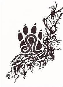 Leo Tattoo. Paw print is pretty awesome