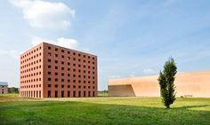 Architect Aldo Rossi's striking San Cataldo cemetery in Modena, Italy.