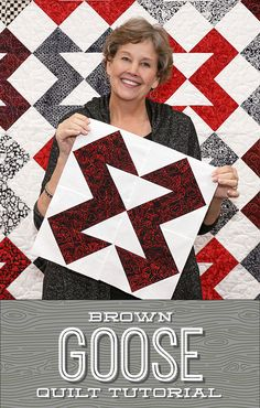 Take flight with Jenny's latest quilting tutorial for the Brown Goose quilt! Follow the link below to watch the free quilting tutorial. #MissouriStarQuiltCo #MSQC #BrownGooseQuilt #FlyingGeese #QuiltingTutorial