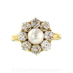 Victorian Ring with Pearl and Diamonds