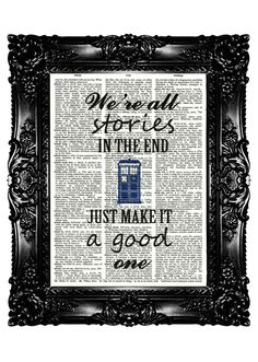 Tardis Dr Who Quotes Dictionary Print  Art Prints Upcycled Book  Vintage Book Print  Vintage Book Page   Buy 3 get 4th free. $7.99, via Etsy.