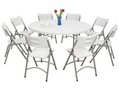Room Design: High Quality Folding Dining Table And Chairs Set Materials Products Cozy Cleans Clears Fantastic Classy Houses Decoratives from Compact Folding Tables and Chairs for Organized Room Décor Round Table And Chairs, Compact Table And Chairs, Outdoor Dining Chairs, Table And Chair Sets, Cheap Folding Chairs, Round Folding Table, Folding Furniture, Office Furniture, Fiestas