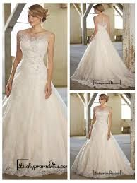 Image result for a line wedding dress illusion neckline