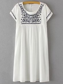 Floral Embroidery Scoop Neck Short Sleeve Dress