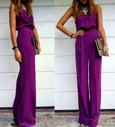 20 Stylish Wedding Guest Looks We're Pinning Right Now - Wedding Party. That royal purple jumpsuit though, I NEED IT. Looks Style, Looks Cool, My Style, Daily Style, Goth Style, Curvy Style, Looks Pinterest, Summer Wedding Guests, Trendy Wedding