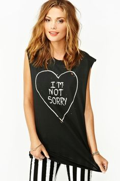 I'm Not Sorry Muscle Tee// wear  it with a red velvet skirtt