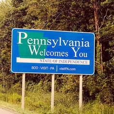 Welcome to Pennsylvania State Roadside Sign  by RetroRoadsidePhoto, $30.00