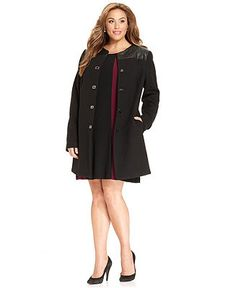 Alfani Plus Size Coat, Faux-Leather-Yoke Walker - Plus Size Coats - Plus Sizes - Macy's