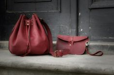 Leather bucket bag, shoulder handmade bag de LADYBUQ sur DaWanda.com