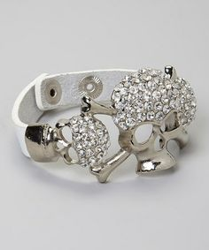 Another great find on #zulily! White Rhinestone Studded Skull Bracelet by I Love Accessories #zulilyfinds