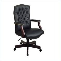 "Black Traditional Leather Executive Chair with Mahogany Finish. Item #: TEX232L-3. Dimensions: 27.25""W x 27""D x 50.25""H. CL Price: $149.90."