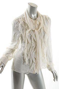 OSCAR de la RENTA Vintage Ivory 100% Silk Crinkle Chiffon Ruffled Blouse - US 8 #OscardelaRenta #ButtonDownShirt #Casual