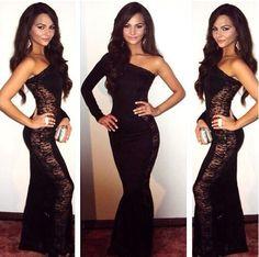 Vestido de festa 2015 nuevas mujeres Maxi largo vestido de encaje un hombro negro pura noche Night Club vestido de Prom Party Casual en Moda y Complementos de en AliExpress.com | Alibaba Group