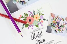 Hand drawn flowers on your wedding card.  Floral Wedding Invitations COLORS of the SEASON by BeholdDesignz, $3.60