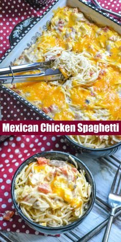 A new spin on the classic pasta dinner, this Cheesy Mexican Chicken Spaghetti is a creamy pasta casserole with a Tex Mex spin, and a delicious, melty cheddar cheese topping. dinner mexican Cheesy Mexican Chicken Spaghetti - 4 Sons 'R' Us Mexican Chicken Spaghetti, Chicken Spaghetti Recipes, Chicken Spaghetti Casserole, Mexican Chicken Casserole, Chicken Enchiladas, Mexican Pasta, Chicken Spaghetti Recipe Without Velveeta, Casseroles With Chicken, Baked Spagetti