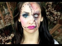Can't decide if you want to go the pretty or scary route this Halloween? Why not do both? This horror doll makeup tutorial is half glam, half creepy, and we love it. via StyleListCanada