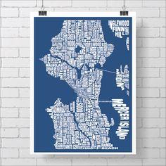 SEATTLE Neighborhood Typography City Map Print Midnight blue