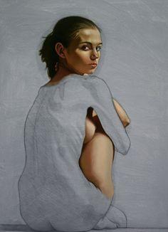 Artist: Renato Ferrari; Rio de Janeiro, Brazil {contemporary figurative beautiful discreet nude female head and body woman posterior back painting}